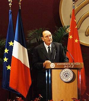 希拉克称支持法国足球队 祝北京奥运成功(图)