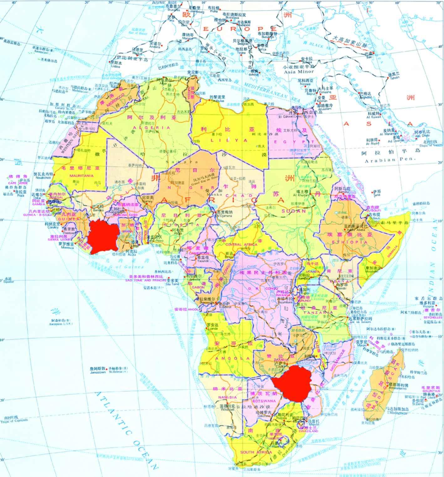 印度中文版电子地图及高清卫星地图-世界地图