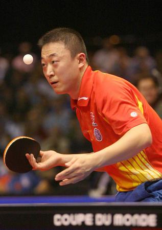 琳在2006年世界杯男子乒乓球赛冠军争夺战中,以4比3战胜队友王