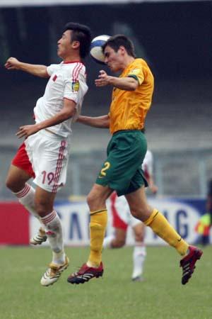 图文:亚青赛中国1-0澳大利亚 杨旭争顶