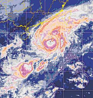 """6时的风云2号卫星云图,图上可见强台风""""西马仑""""的外围气流已影图片"""