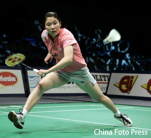 图文:丹麦羽毛球公开赛 蒋燕皎比赛对阵卢兰