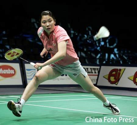 图文:丹麦羽毛球公开赛 蒋燕皎在比赛中