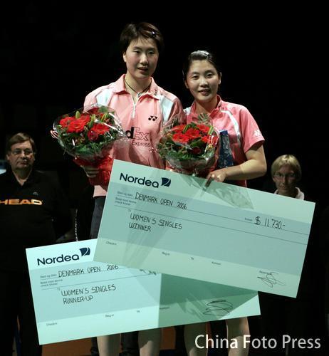丹麦羽球赛:中国男女单夺冠 双打项目全军覆没