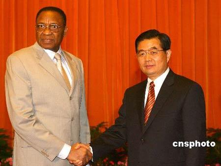 图:胡锦涛会见尼日尔总统坦贾
