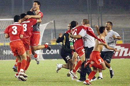 图文:亚青赛中国1-2不敌约旦 约旦队庆祝晋级