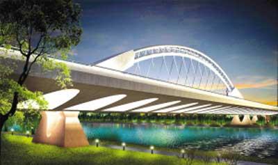 江苏常州运河打造独特大桥 行人从地下通道上桥