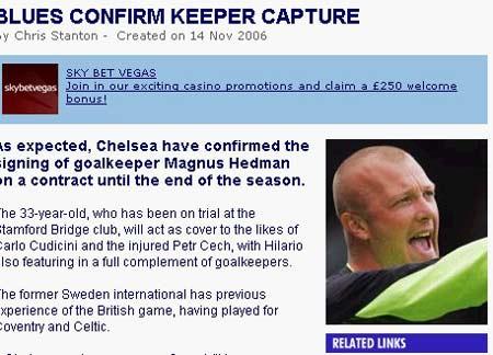切尔西解门荒签瑞典老国门 海德曼竞技状态堪忧