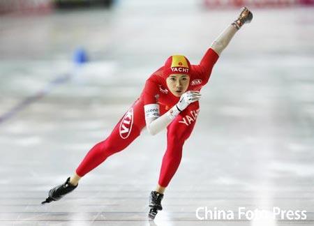 图文:速滑世界杯德国站 中国队王北星获铜牌