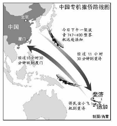 国航将派飞机前往斐济接回约200名华侨华人(图)