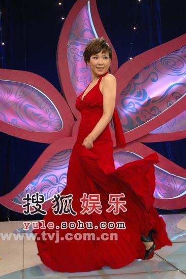 组图:李静尝试性感造型 红色晚礼装艳压名模