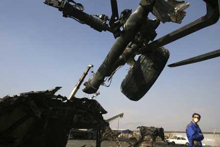 图文:伊朗安-74军用飞机坠毁现场