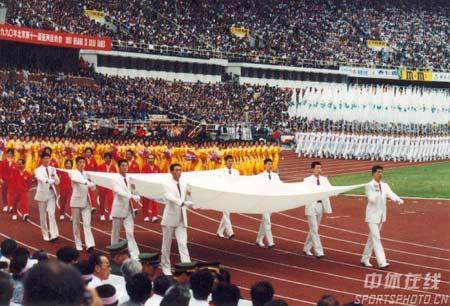 图文:1990年北京亚运会开幕式 运动员入场仪式