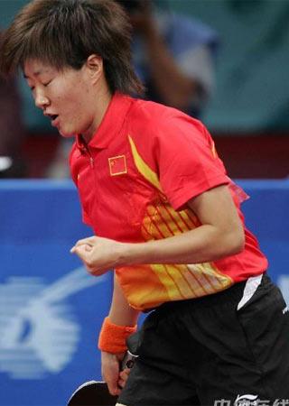 图文:中国女乒3-0中国香港 郭炎为自己鼓劲