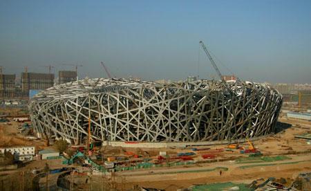 """""""鸟巢""""体育场钢结构吊装工作已全部完成(图)"""