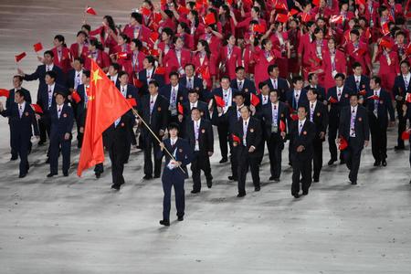 图文:第15届亚运会开幕 中国代表团第7个入场