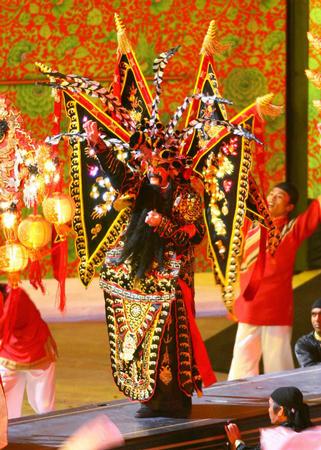 图文:亚运会开幕式文艺表演 中国传统京剧表演