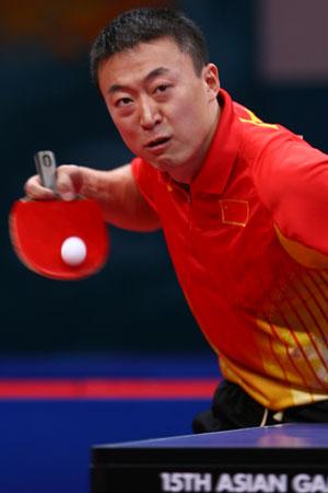 图文:亚运会乒乓球男团半决赛 马琳战胜庄智渊