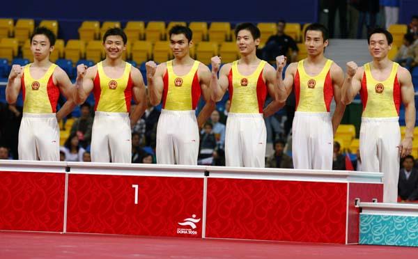 图文:多哈亚运体操男团决赛 中国轻松夺得冠军