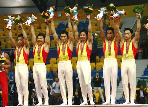 图文:多哈亚运体操男团决赛 中国轻松摘得金牌