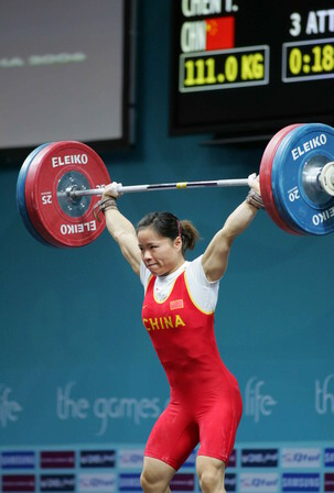 图文:陈艳青破女子举重世界纪录 动作分解之三