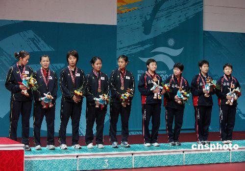 图文:乒乓球女团朝鲜韩国获铜牌 参加颁奖仪式
