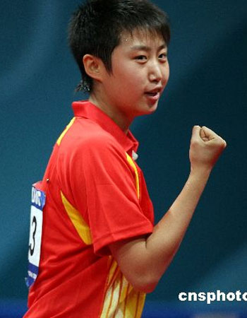 图文:中国获亚运乒球女团冠军 郭跃信心十足