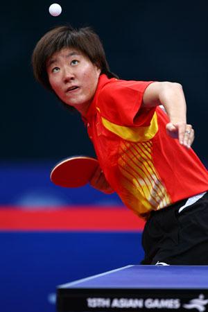 独家图片:中国女乒夺得团体冠军 郭焱高抛发球