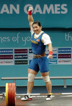 图文:亚运会女子举重69公斤级 刘海霞夺得冠军