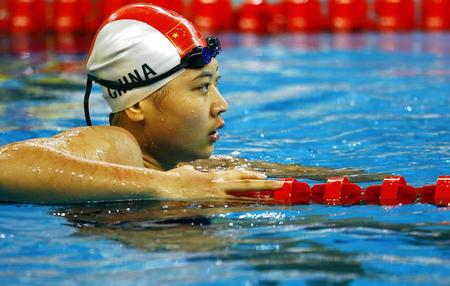 图文:亚运会女子50米仰泳 高畅获得银牌