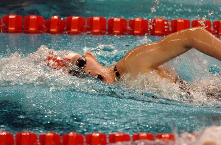 图文:亚运会女子400米自由 朱雯睿获得亚军