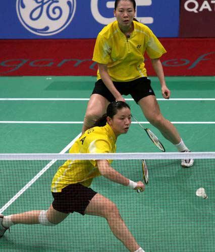 图文:羽毛球女团中国VS日本 杨维张洁雯组合