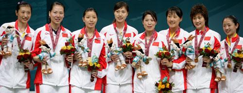 独家图片:夺得羽毛球团体冠军 中国女团全家福