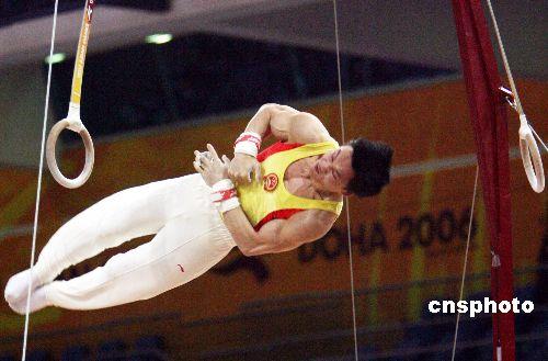 图文:男子吊环杨威陈一冰并列冠军 空中旋转