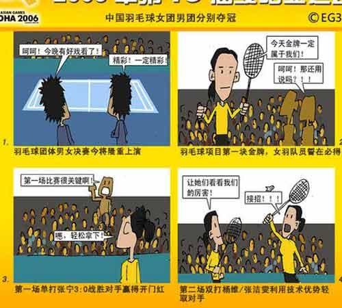 漫画:女团轻松夺冠男团艰难问鼎 羽毛球再夺金
