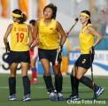 图文:亚运女曲中国VS韩国 得分后兴高采烈