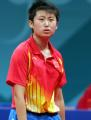 图文:亚运会乒乓球女单半决赛 郭跃很懊悔