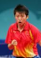 图文:亚运会乒乓球女单半决赛 郭跃庆祝得分