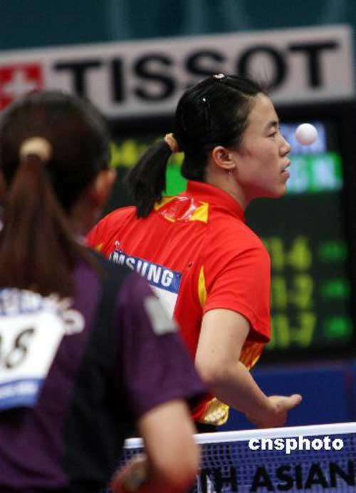 图文:亚运会乒乓球女单半决赛 王楠输给帖雅娜