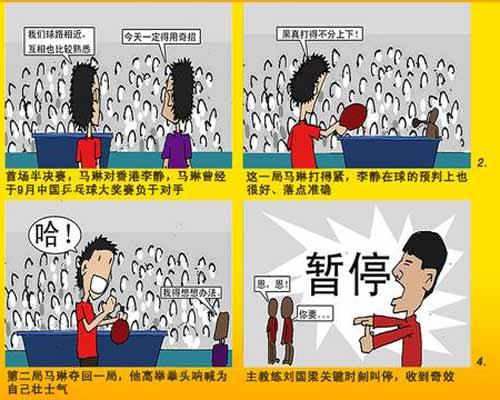 漫画:乒球男单 王皓再斩柳承敏携手马琳进决赛