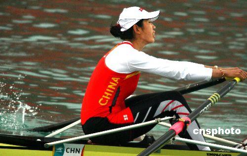 图文:金紫薇获女子单人双桨金牌