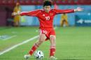 独家图片:女足小组赛中国0-1日本 马晓旭独舞