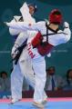 图文:跆拳道72公斤级中国王浩战胜对手获银牌