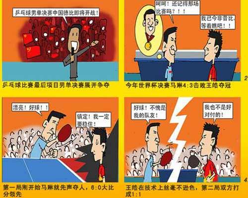漫画:乒球男单决赛上演中国德比 王皓大胜马琳