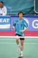 图文:亚运羽毛球男单半决赛 李炫一做准备活动