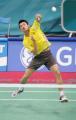 图文:亚运羽毛球男单半决赛 林丹空中截击
