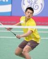 图文:亚运羽毛球男单半决赛 林丹在比赛中