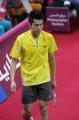 图文:亚运羽毛球男单半决赛 林丹准备比赛