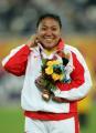 图文:亚运会女子链球决赛 张文秀心情不错