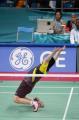 图文:郑波高崚获羽毛球混双冠举 郑波庆祝胜利